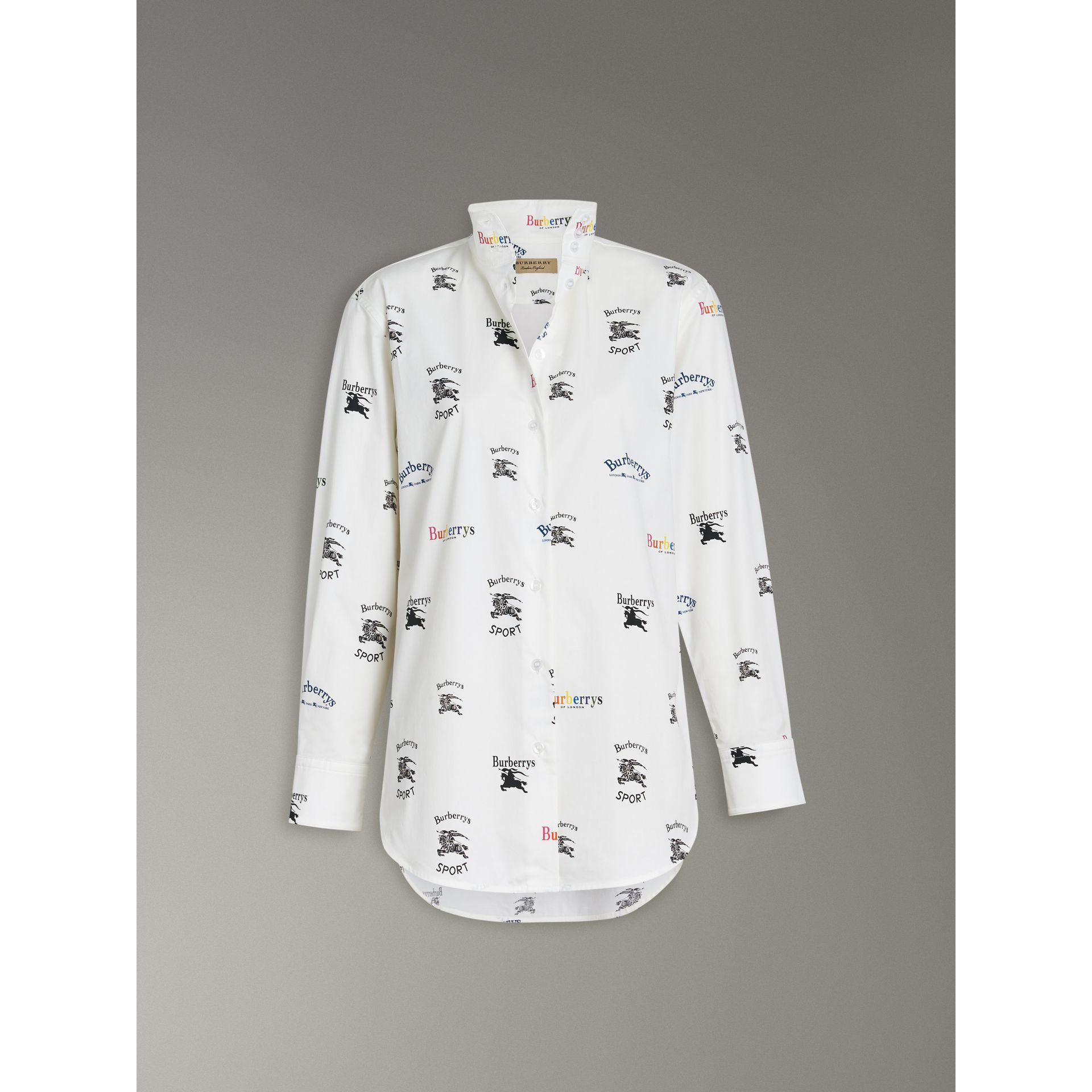 Triple Archive Logo Print Stretch Cotton Shirt in Multicolour - Women | Burberry United Kingdom - gallery image 3