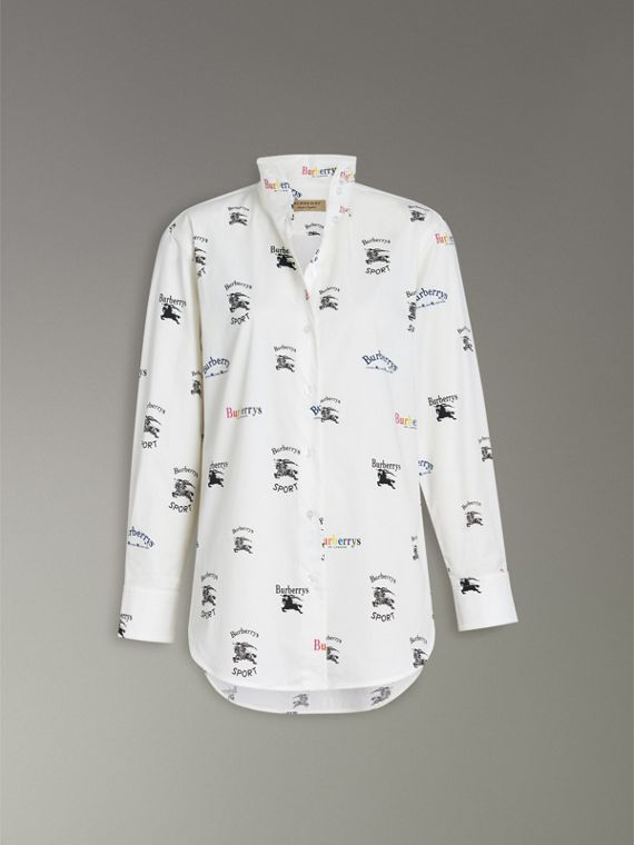 Triple Archive Logo Print Stretch Cotton Shirt in Multicolour - Women | Burberry - cell image 3