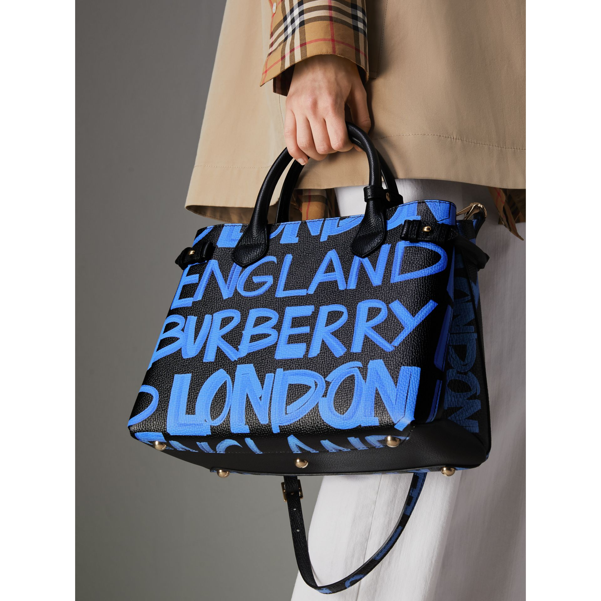 The Medium Banner in Graffiti Print Leather in Black - Women | Burberry - gallery image 7