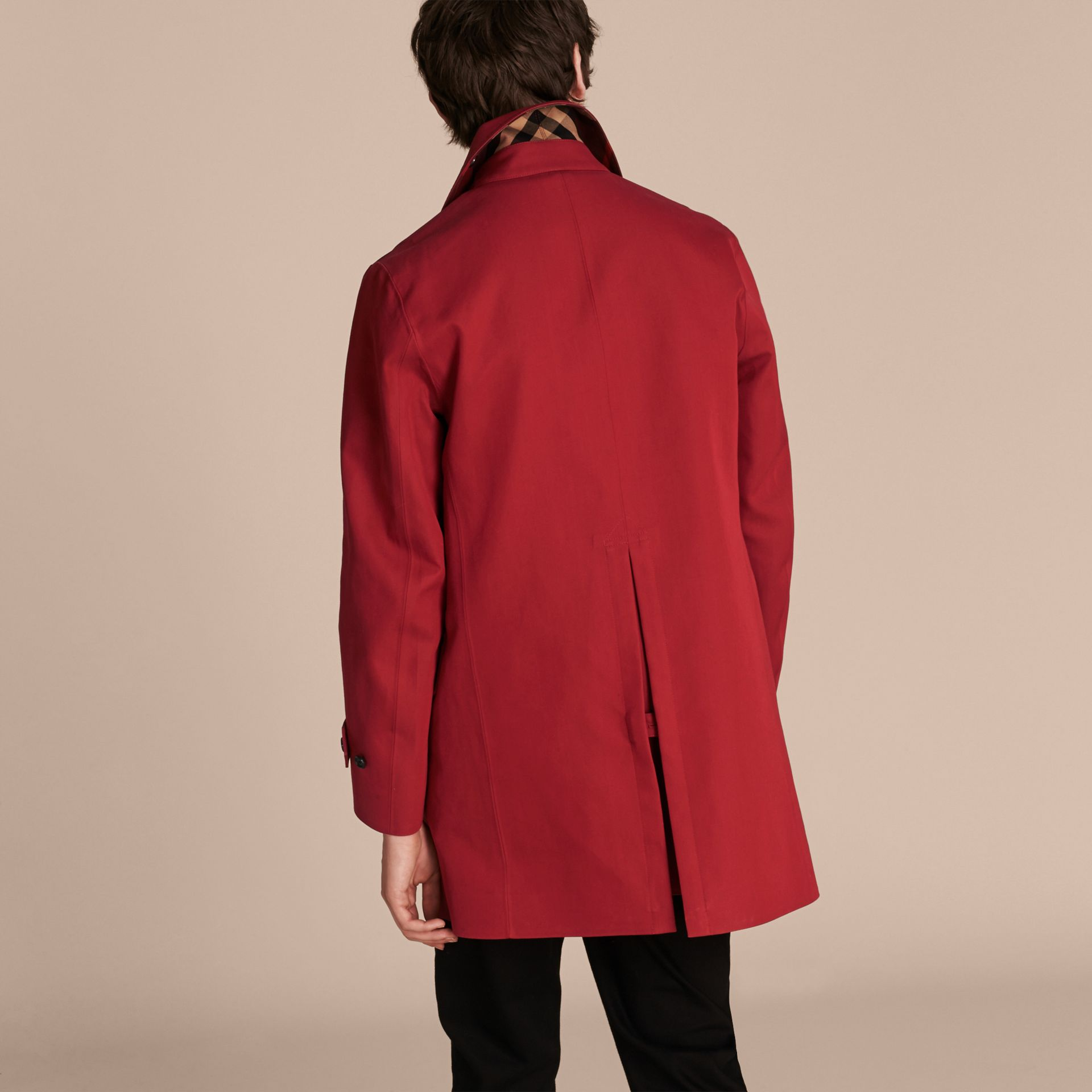 Showerproof Cotton Gabardine Car Coat Military Red - gallery image 3