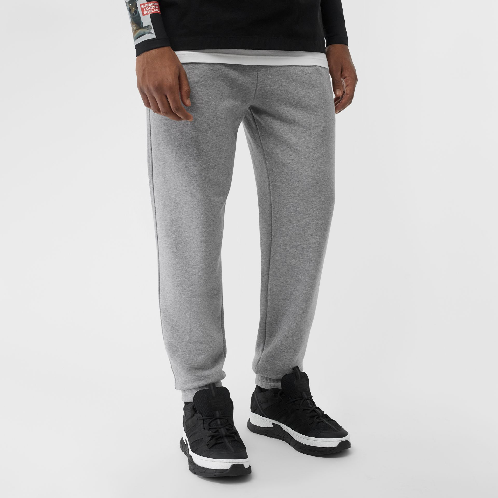 Logo Print Cotton Trackpants in Pale Grey Melange - Men | Burberry United Kingdom - gallery image 4