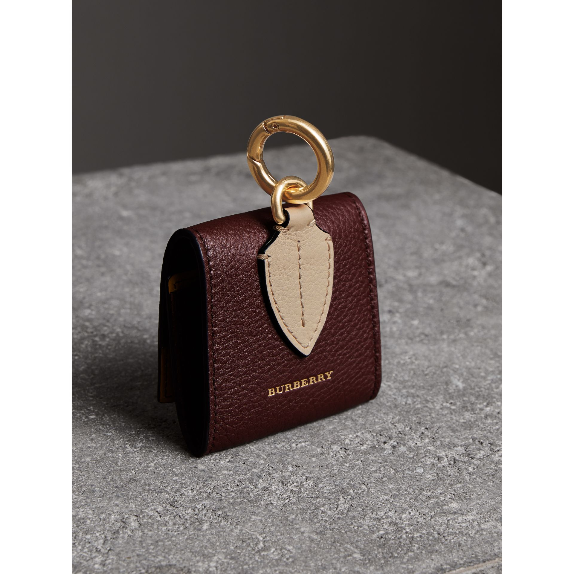Small Square Leather Coin Case Charm in Deep Claret/limestone - Women | Burberry - gallery image 2