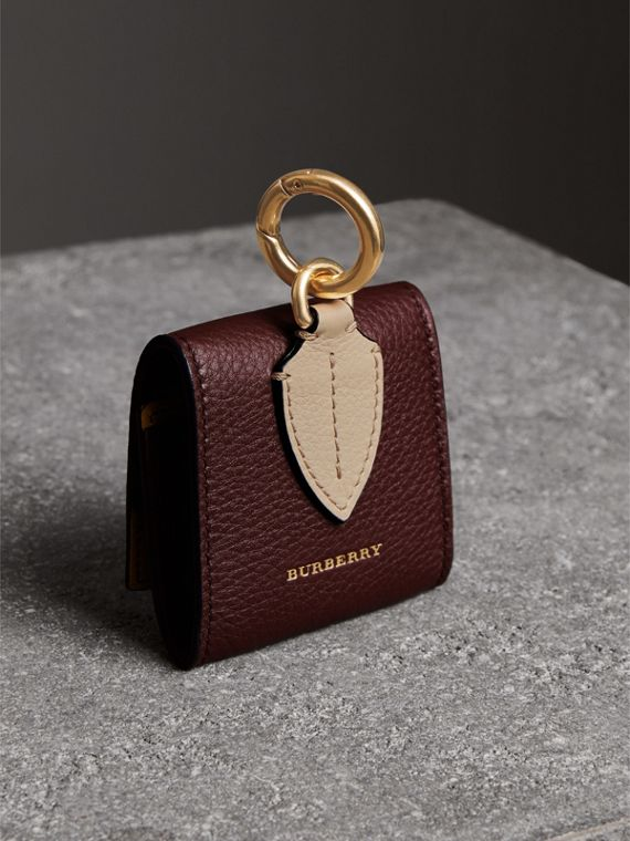 Small Square Leather Coin Case Charm in Deep Claret/limestone - Women | Burberry United Kingdom - cell image 2