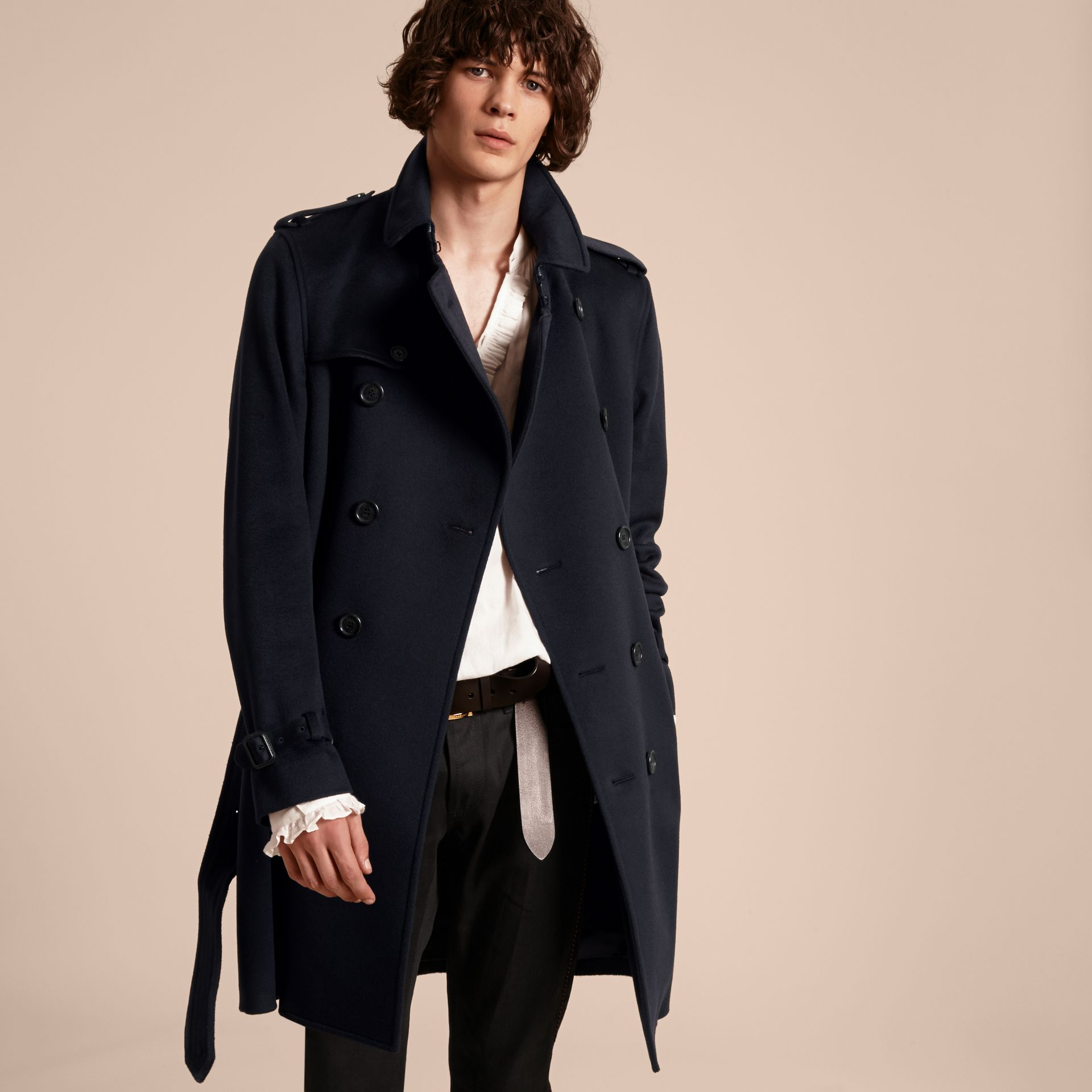 Cashmere Trench Coat Navy - gallery image 8