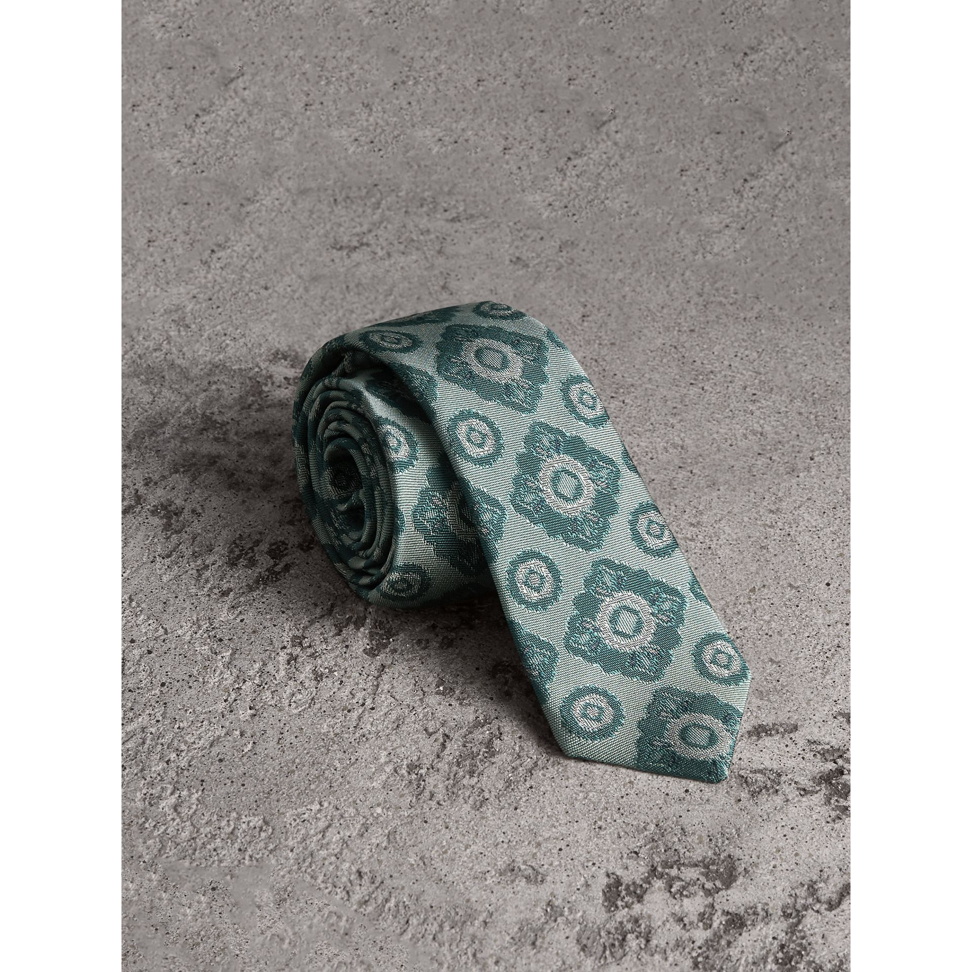 Slim Cut Tiled Floral Silk Jacquard Tie in Cyan Green - Men | Burberry - gallery image 0