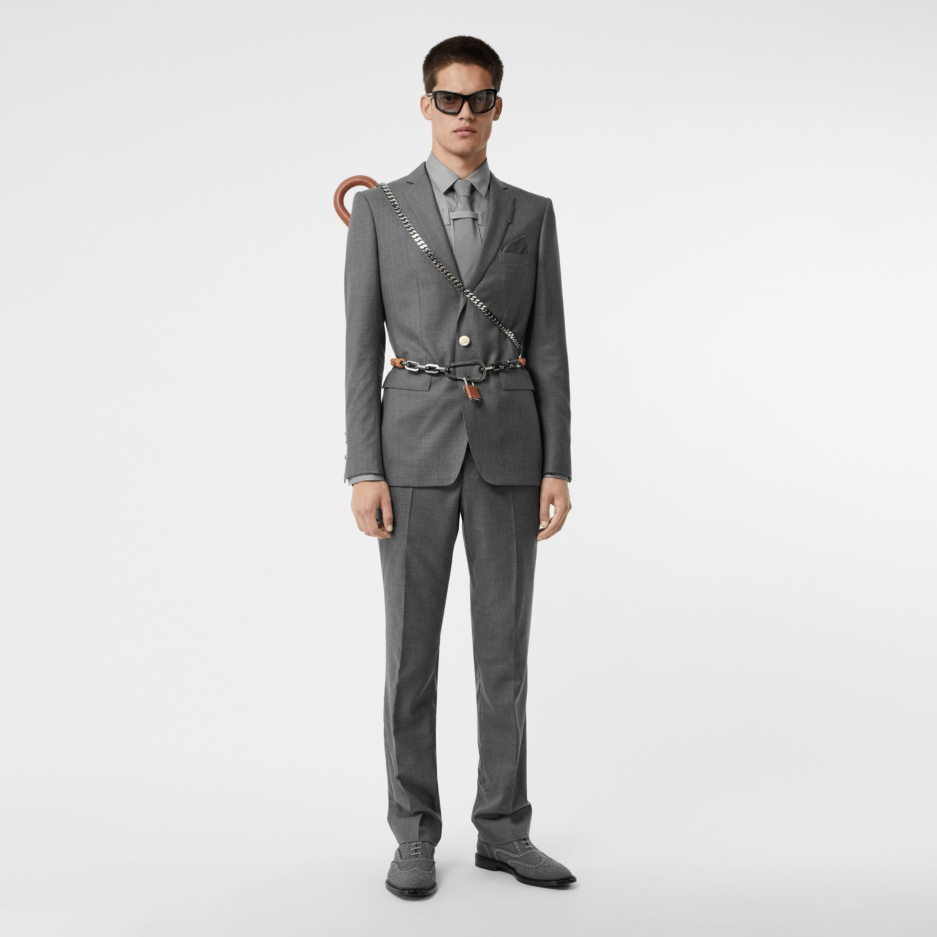 Classic Fit Metal Button Wool Tailored Trousers in Light Grey | Burberry - gallery image 0