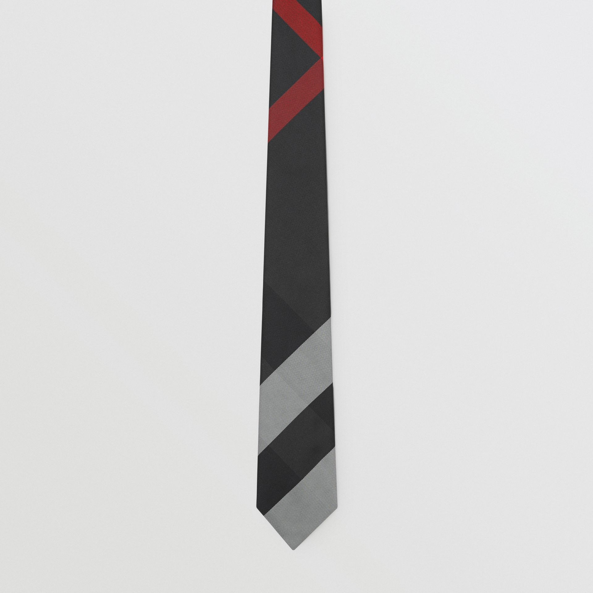 Modern Cut Oversized Check Silk Tie in Charcoal - Men | Burberry United Kingdom - gallery image 3