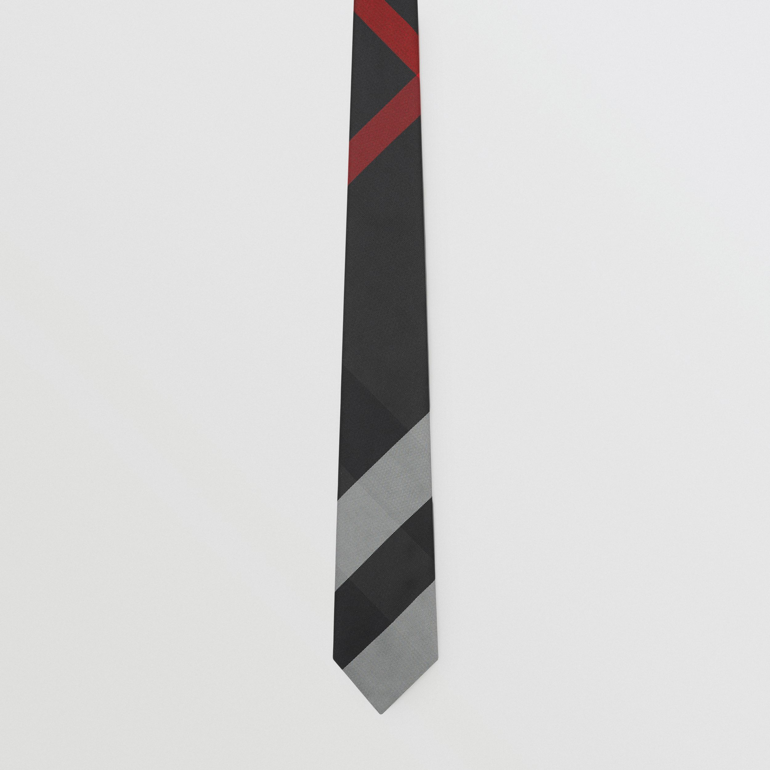 Modern Cut Oversized Check Silk Tie in Charcoal - Men | Burberry - 4