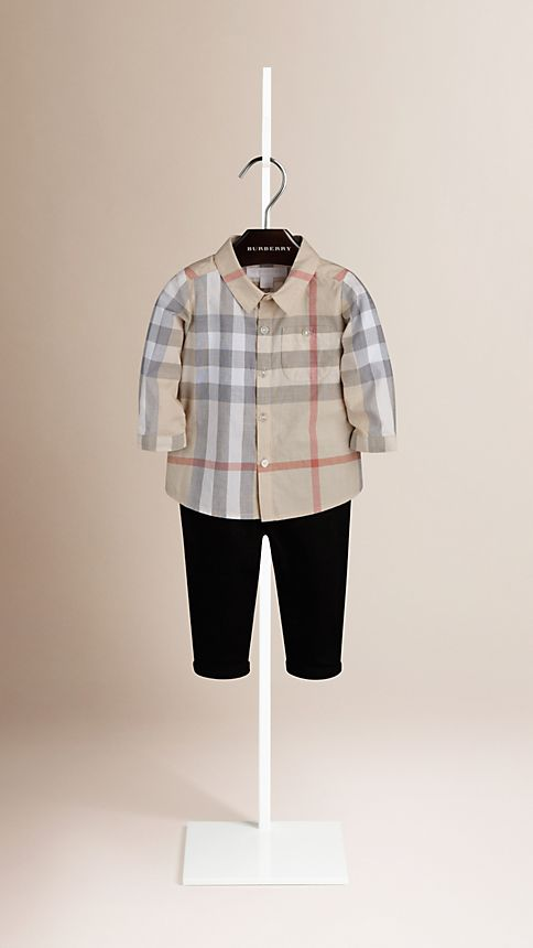 Pale classic check Washed Check Cotton Shirt - Image 1