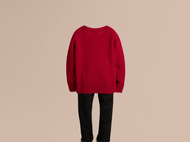 Check Detail Cashmere Sweater in Parade Red - Girl | Burberry Singapore - cell image 2