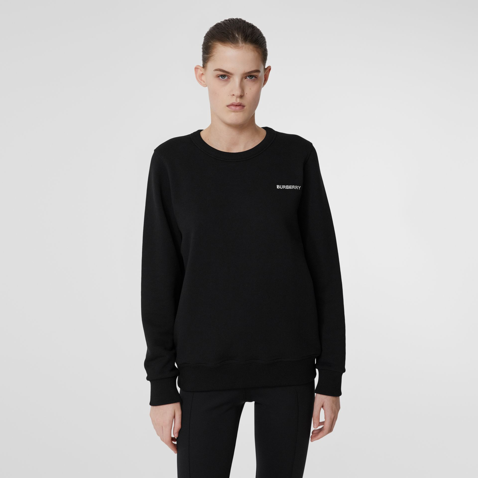 Crystal Monogram Motif Cotton Oversized Sweatshirt in Black - Women | Burberry - gallery image 2