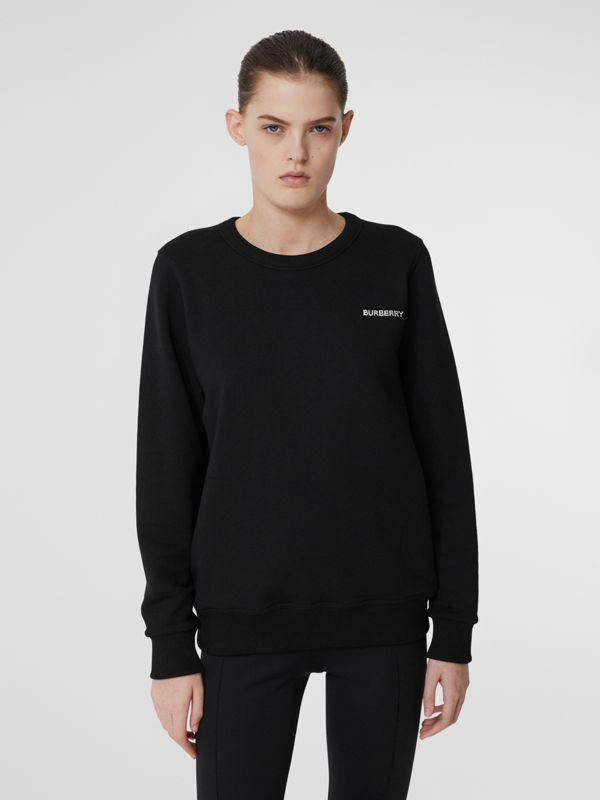 Crystal Monogram Motif Cotton Oversized Sweatshirt in Black - Women | Burberry - cell image 2