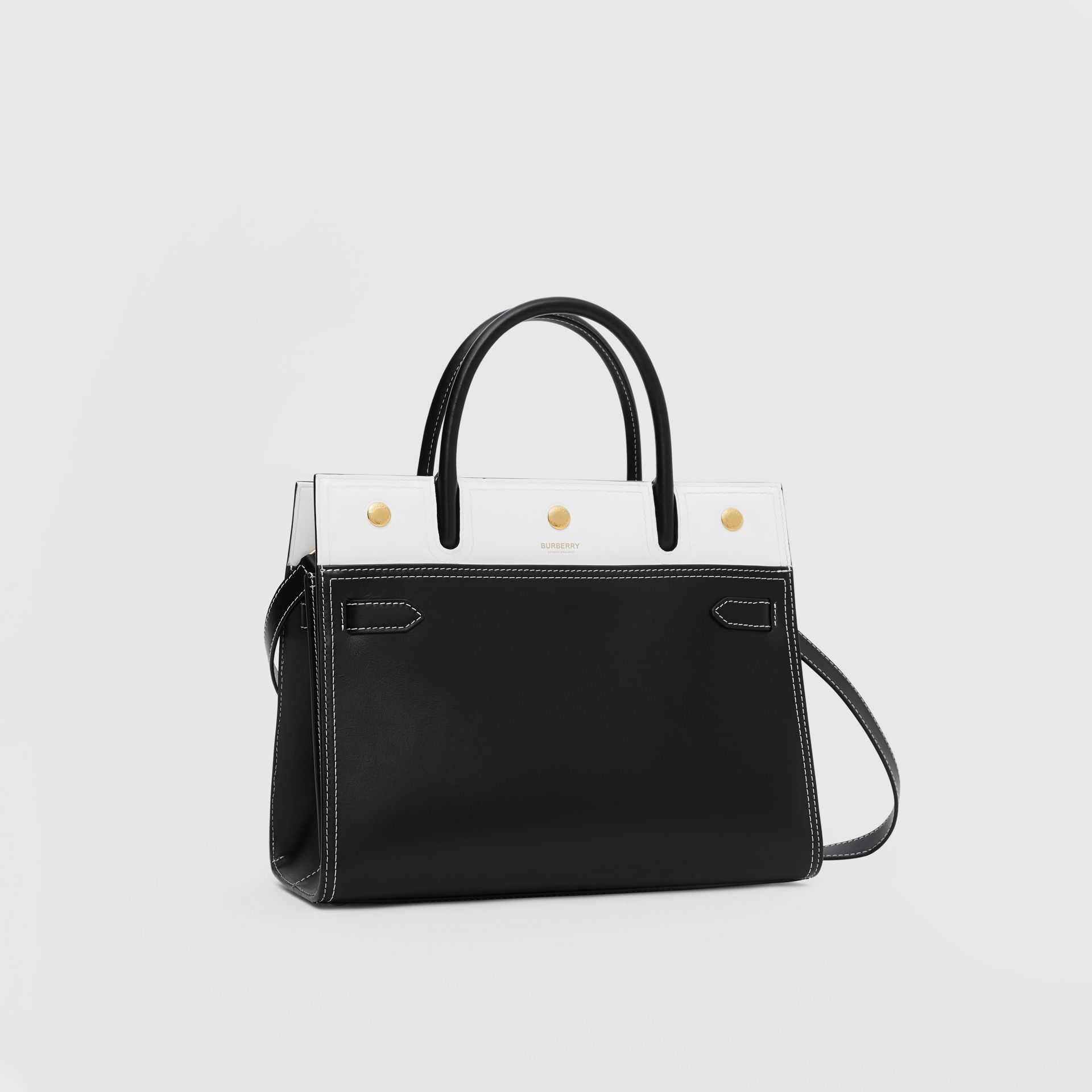 Small Leather Two-handle Title Bag in Black/white - Women | Burberry - gallery image 6