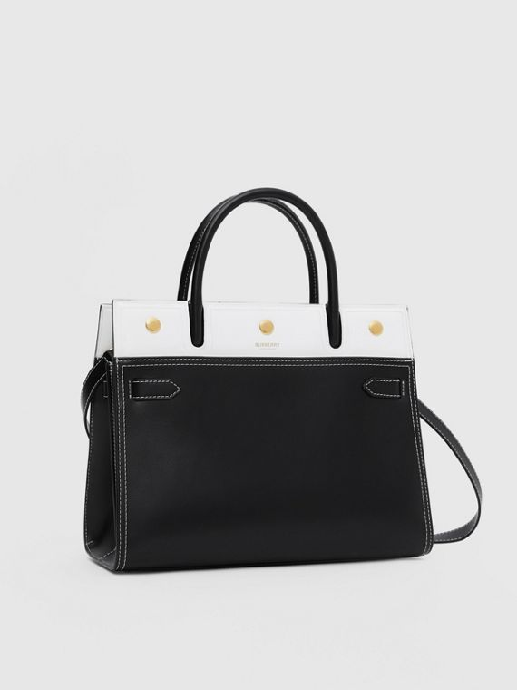 Small Leather Two-handle Title Bag in Black/white