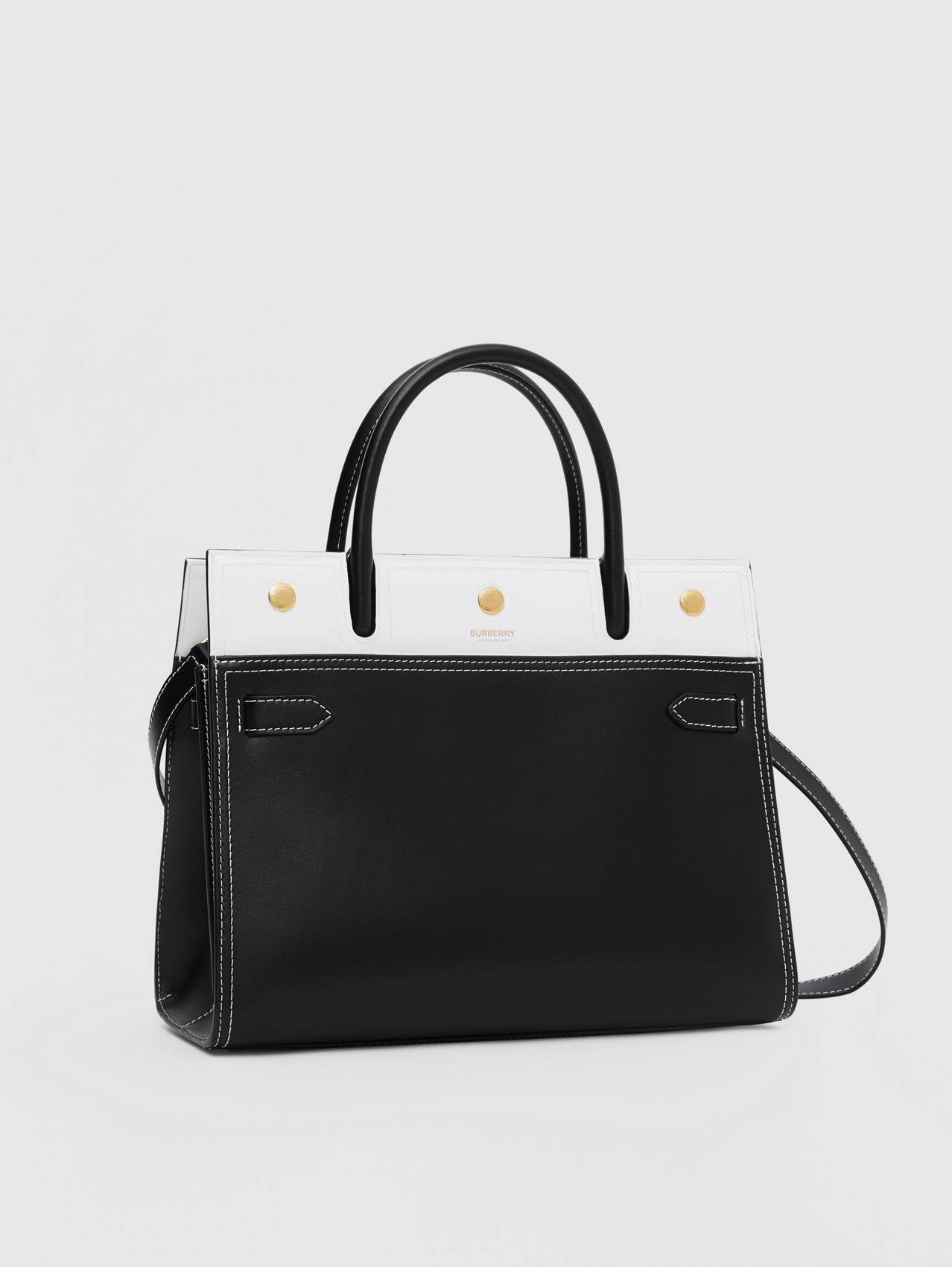 Small Leather Two-handle Title Bag (Black/white)