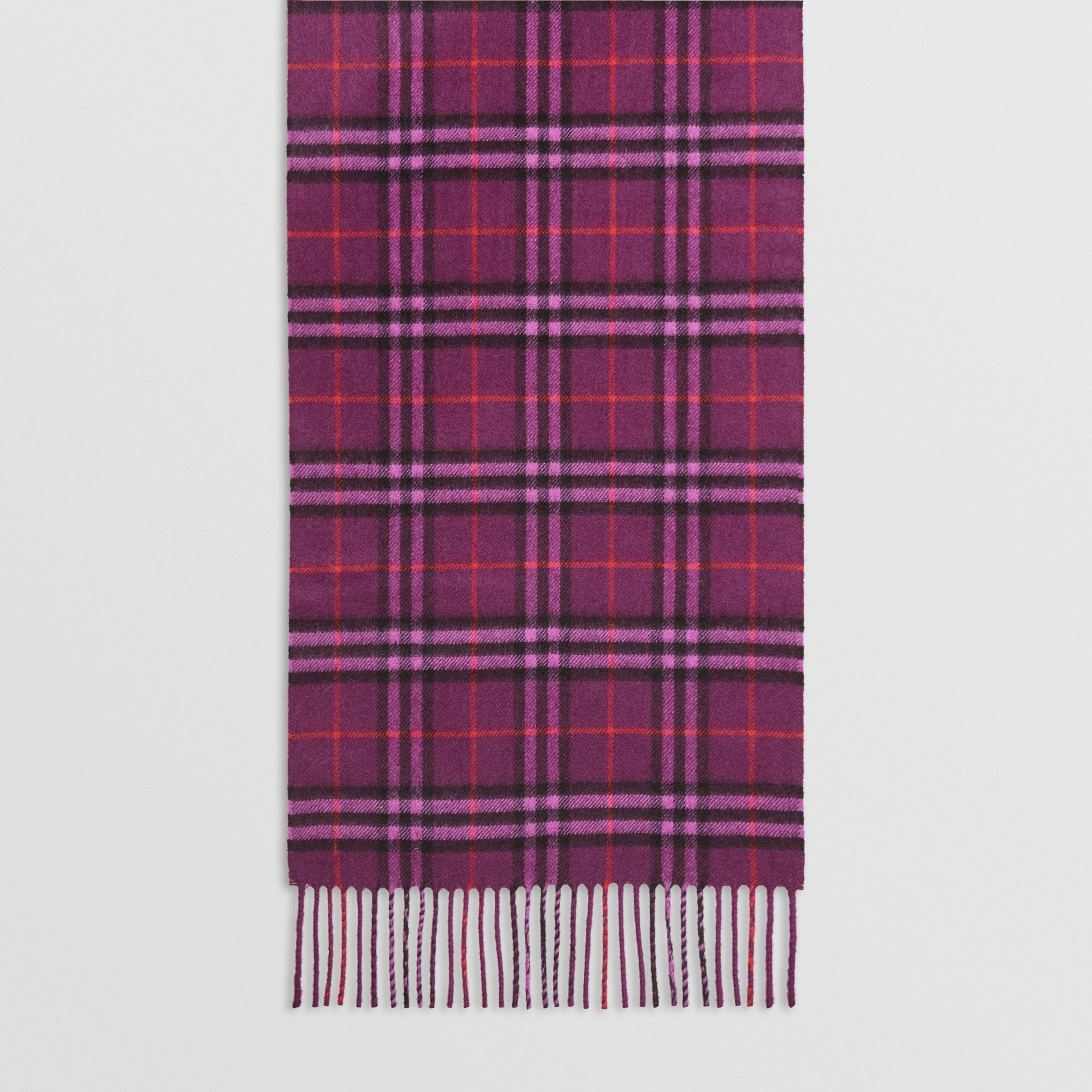 The Classic Vintage Check Cashmere Scarf in Dark Violet | Burberry United Kingdom - gallery image 4