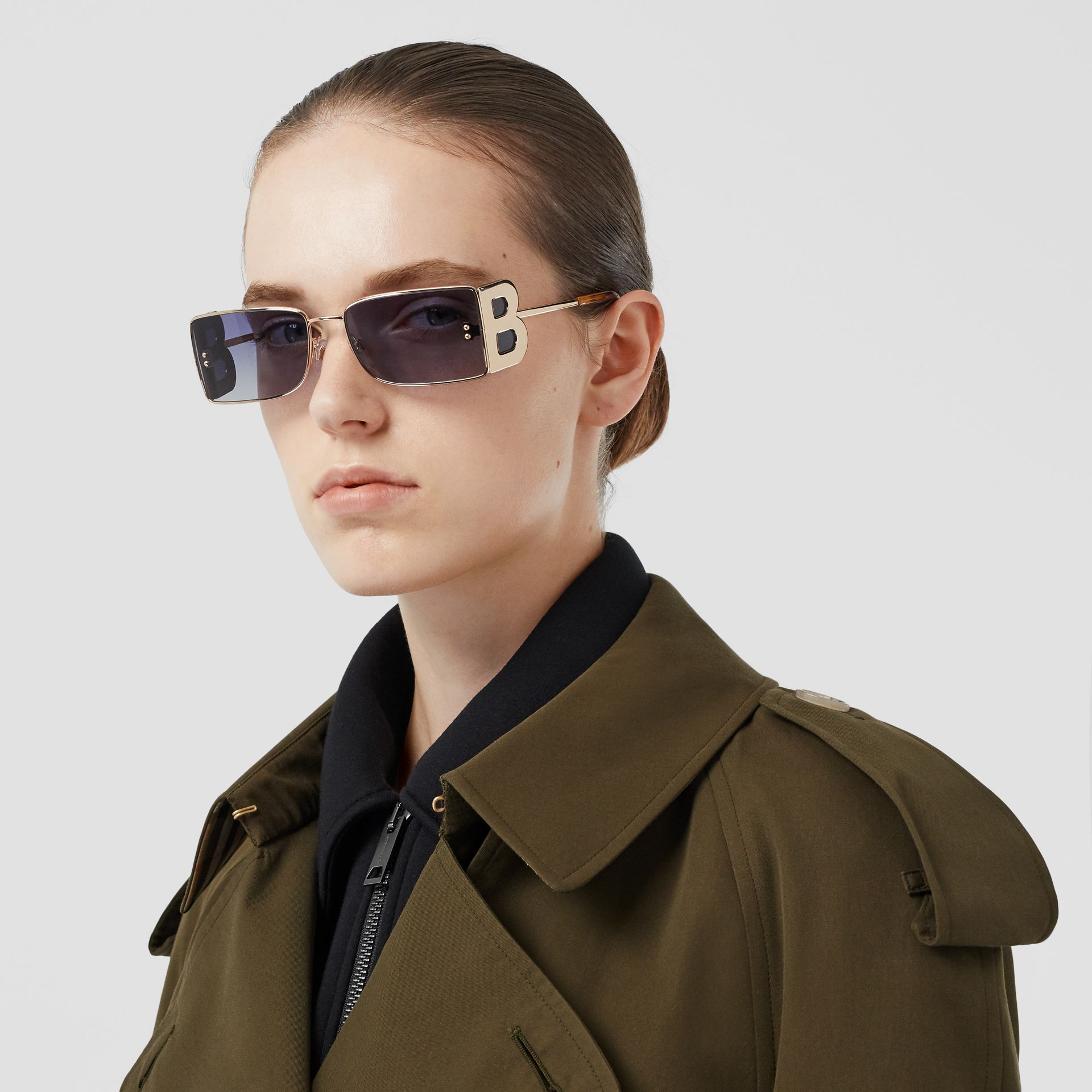 Tropical Gabardine Long Trench Coat in Dark Military Khaki - Women | Burberry - gallery image 1