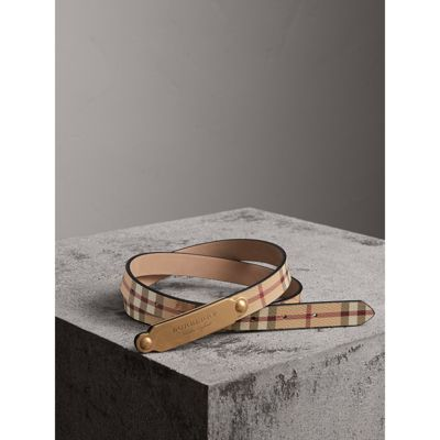 Plaque Buckle Haymarket Check And Leather Belt in Camel