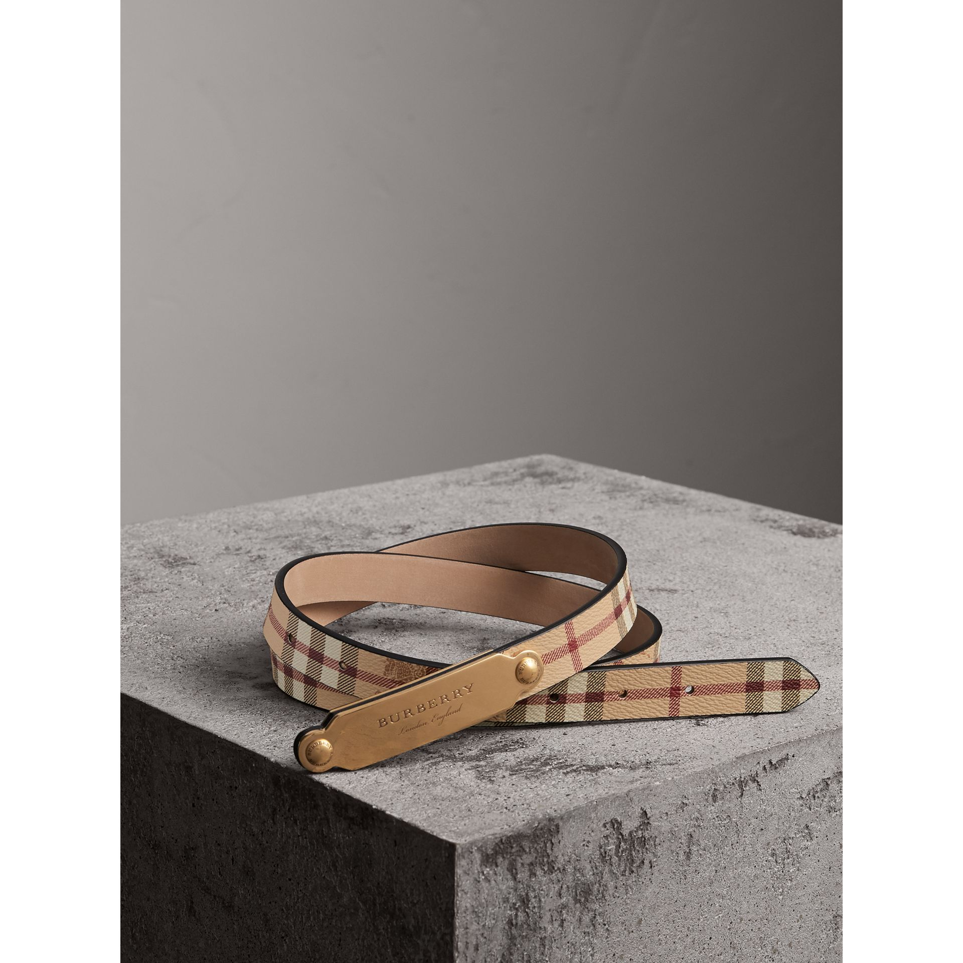 Plaque Buckle Haymarket Check and Leather Belt in Camel - Women | Burberry - gallery image 1