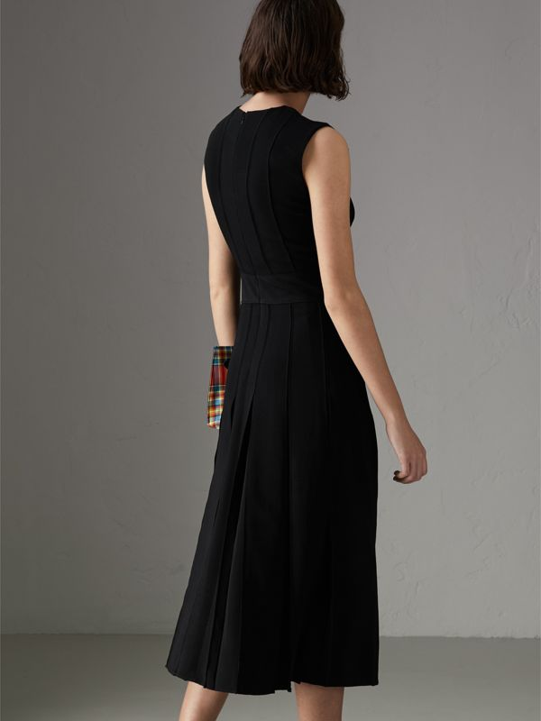 Sleeveless Pleat Detail Georgette Dress in Black - Women | Burberry - cell image 2