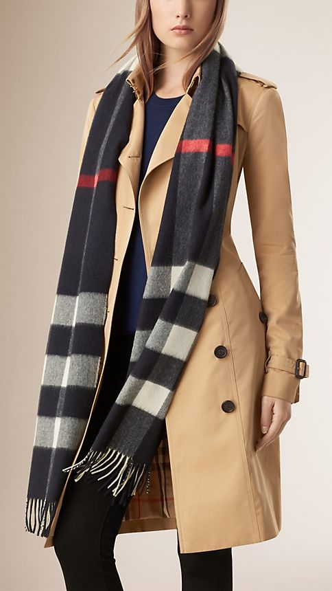 Giant Exploded Check Cashmere Scarf - Image 2