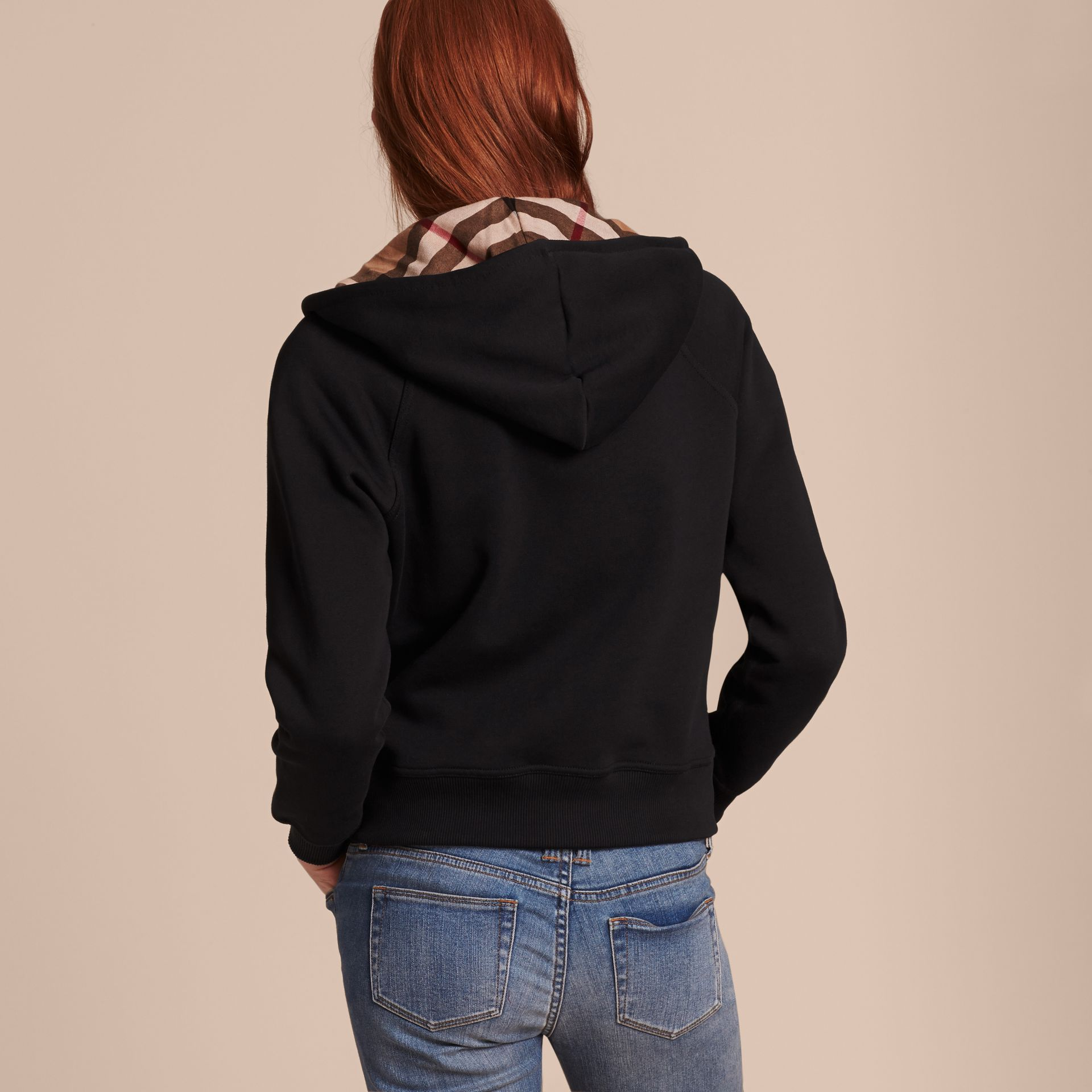 Hooded Zip-front Cotton Blend Sweatshirt in Black - gallery image 3