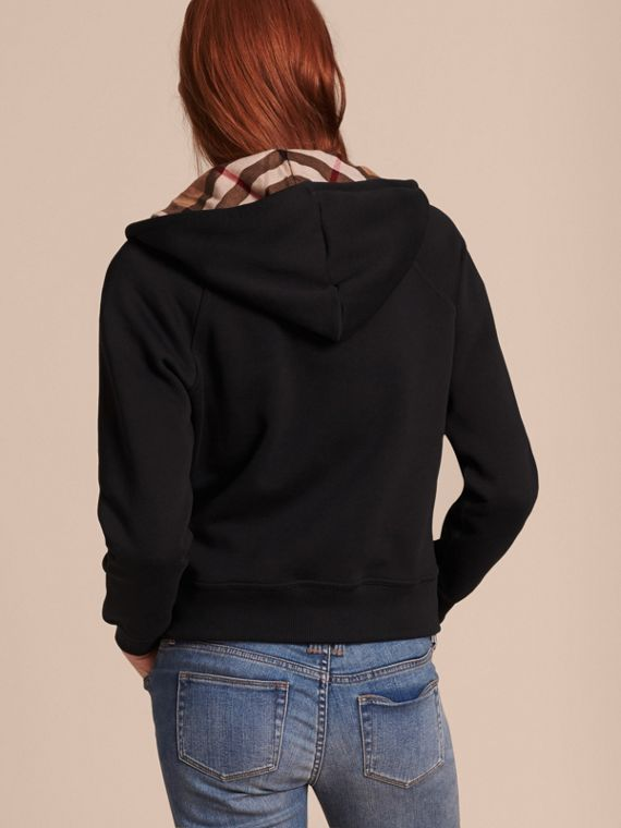 Black Hooded Zip-front Cotton Blend Sweatshirt Black - cell image 2