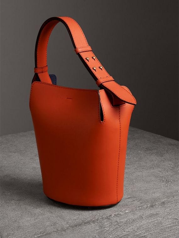 The Small Leather Bucket Bag in Clementine - Women | Burberry - cell image 3