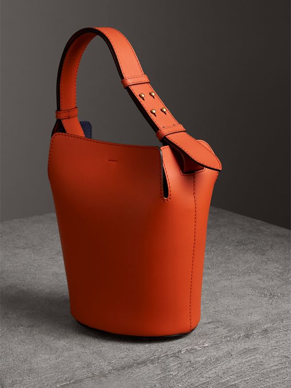 The Small Leather Bucket Bag in Clementine - Women | Burberry United States - cell image 3