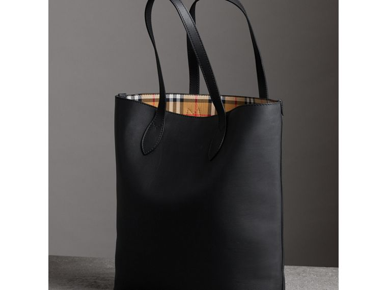 Graffiti Print Bonded Leather Tote in Black | Burberry - cell image 4