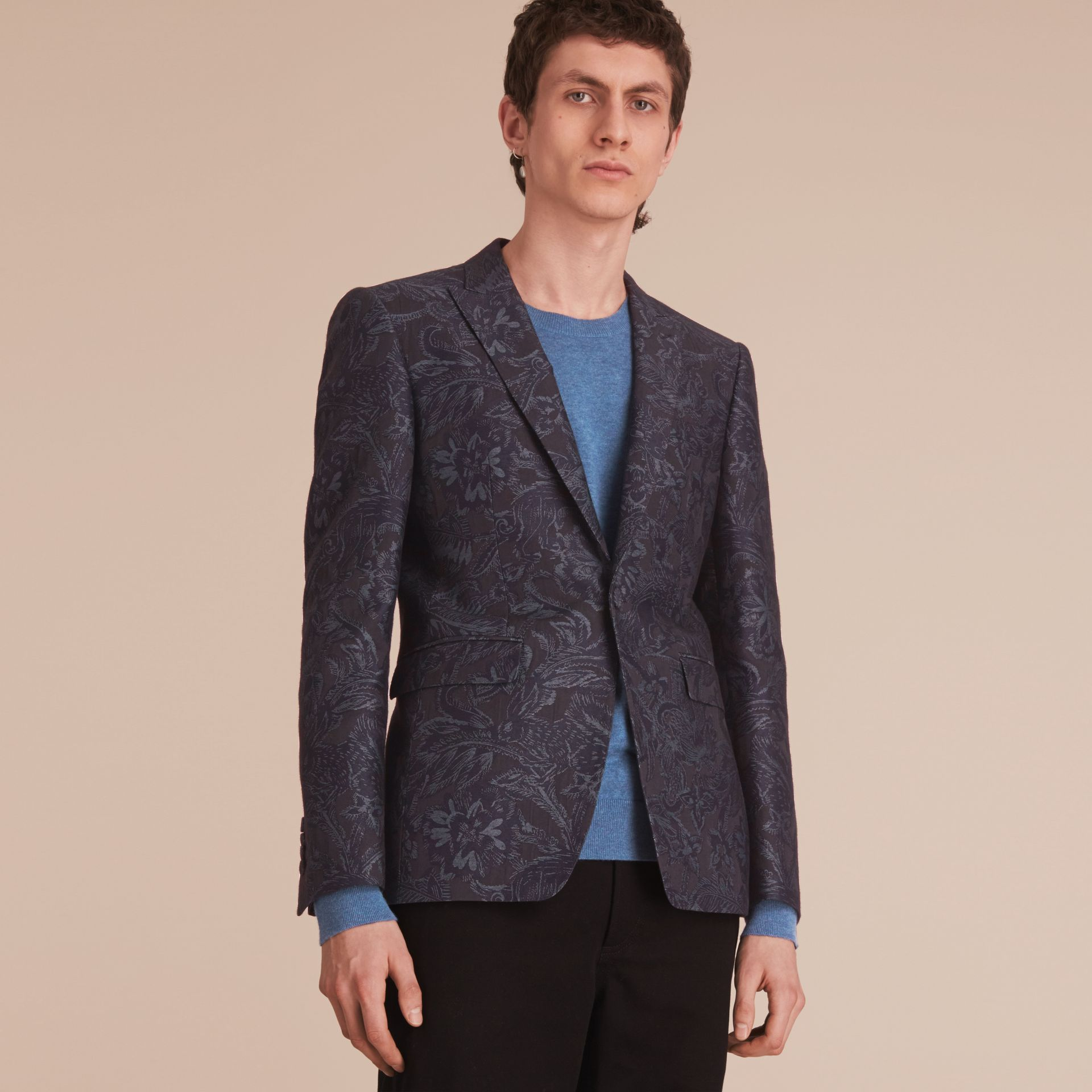 Slim Fit Beasts Fil Coupé Wool Silk Tailored Jacket in Stone Blue - Men | Burberry - gallery image 8