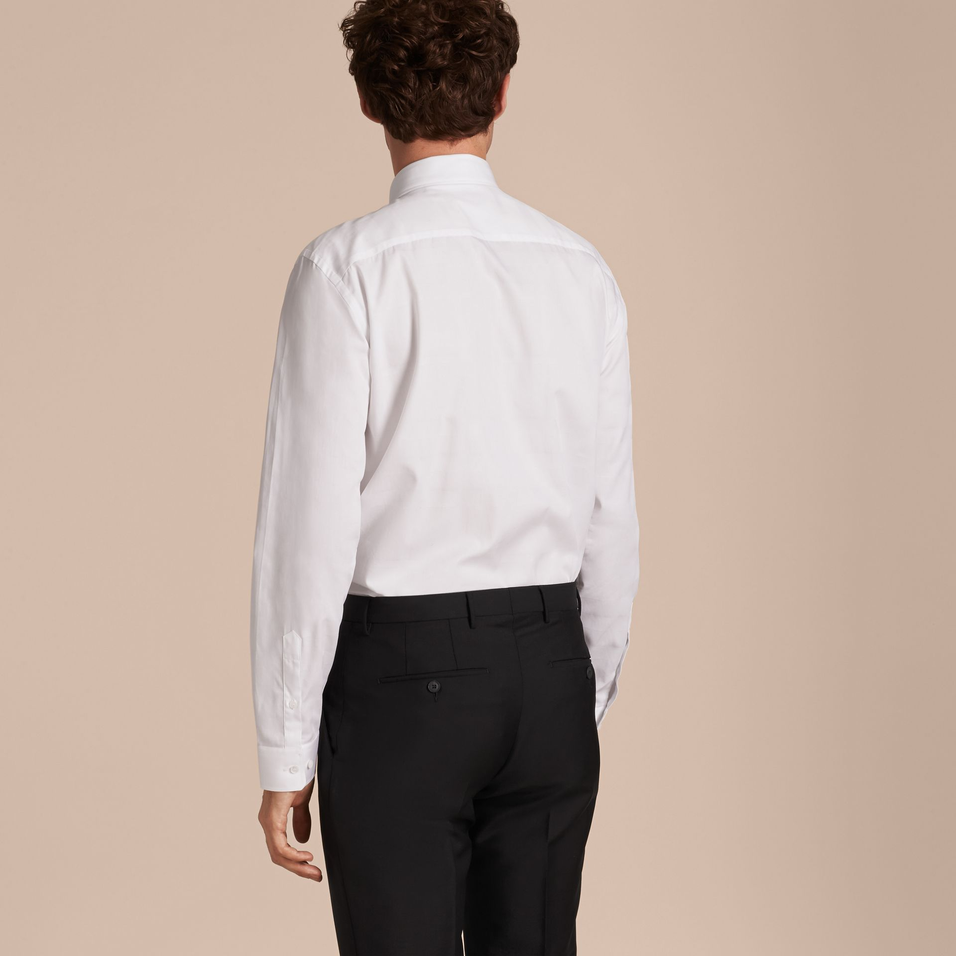 Modern Fit Check Cotton Poplin Shirt in White - gallery image 3
