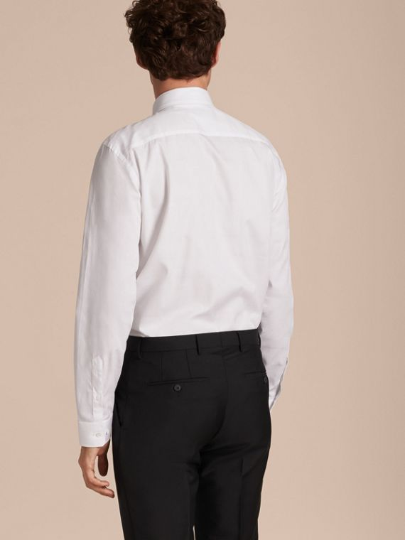 Modern Fit Check Cotton Poplin Shirt in White - cell image 2