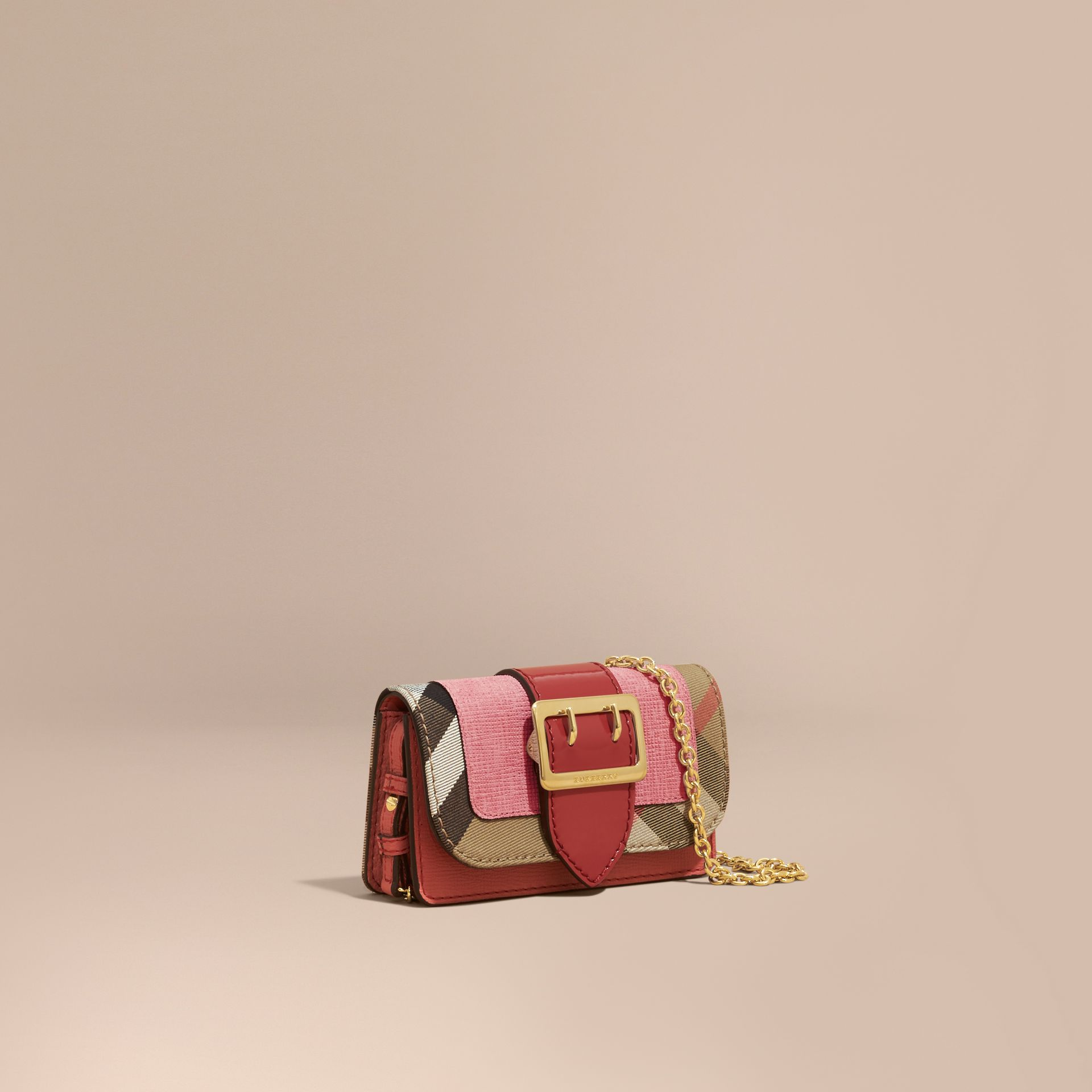 The Mini Buckle Bag in Leather and House Check in Rose Pink - Women | Burberry - gallery image 1