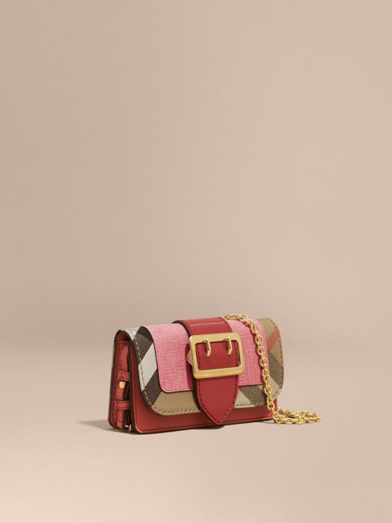 The Mini Buckle Bag in Leather and House Check in Rose Pink - Women | Burberry