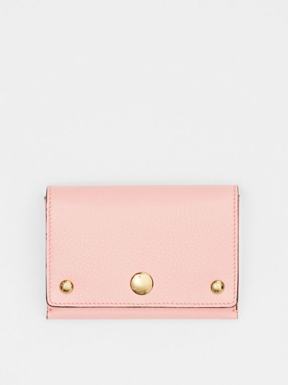 Triple Stud Leather Folding Wallet in Pale Ash Rose