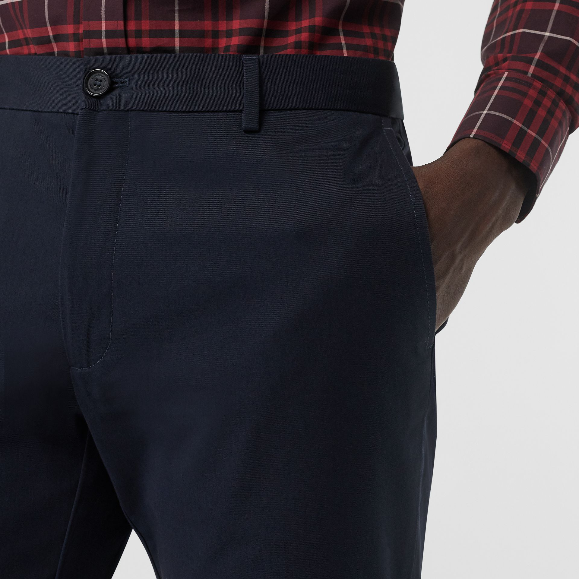 Slim Fit Cotton Chinos in Navy - Men | Burberry United Kingdom - gallery image 1