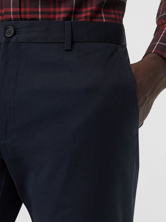 Slim Fit Cotton Chinos in Navy - Men | Burberry - cell image 1