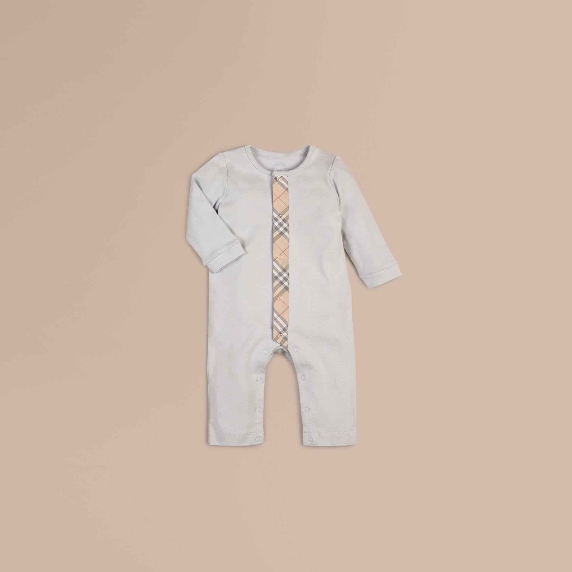 Ice blue Check Trim Cotton Jumpsuit Ice Blue - gallery image 1