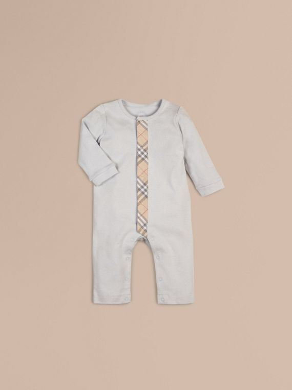 Check Trim Cotton Jumpsuit Ice Blue