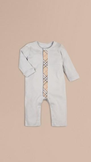 Check Trim Cotton Jumpsuit