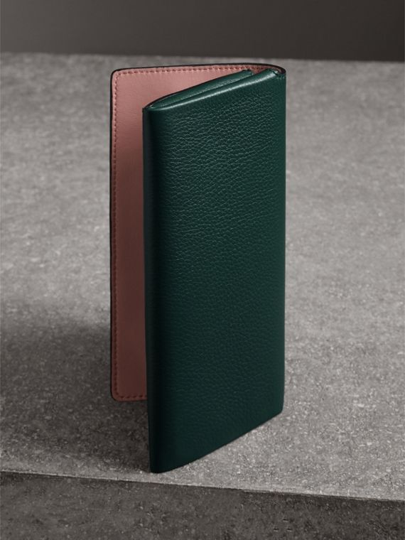 Two-tone Leather Continental Wallet in Dark Cyan - Women | Burberry - cell image 2