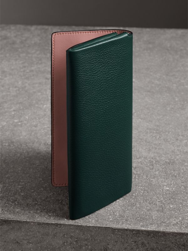 Two-tone Leather Continental Wallet in Dark Cyan - Women | Burberry Australia - cell image 2