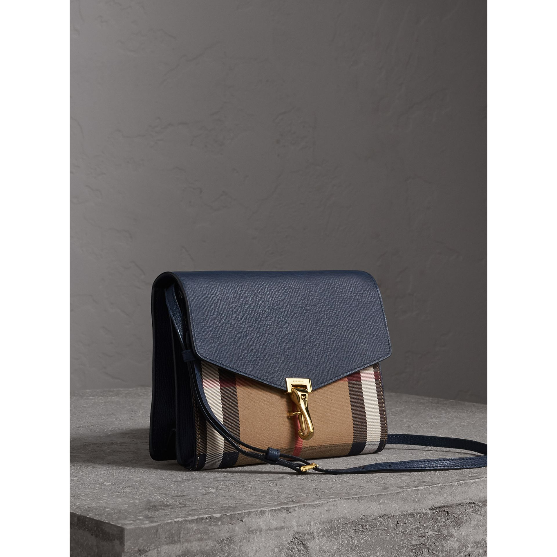 Small Leather and House Check Crossbody Bag in Ink Blue - Women | Burberry - gallery image 5