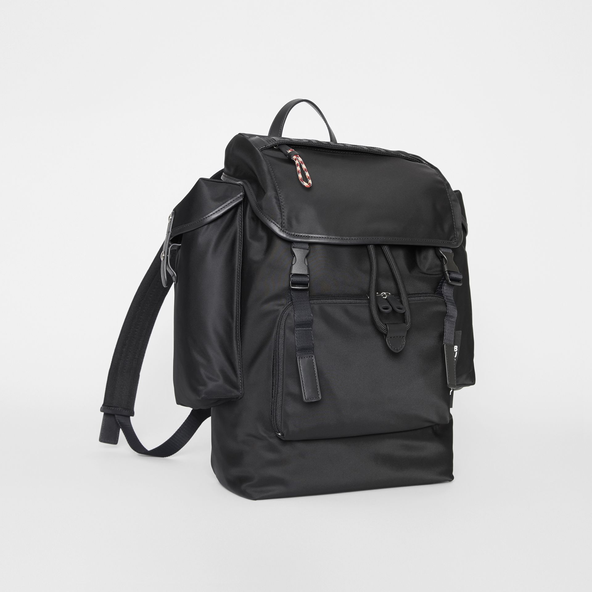 Logo Detail Nylon and Leather Backpack in Black - Men | Burberry United Kingdom - gallery image 6