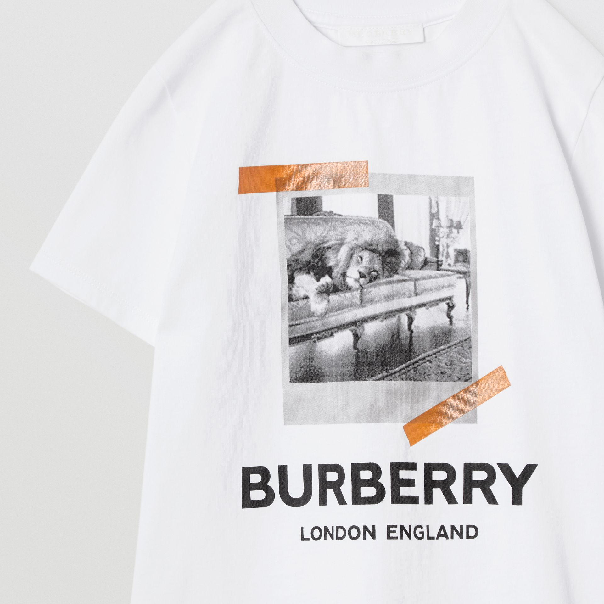 Vintage Polaroid Print Cotton T-shirt in White | Burberry - gallery image 5