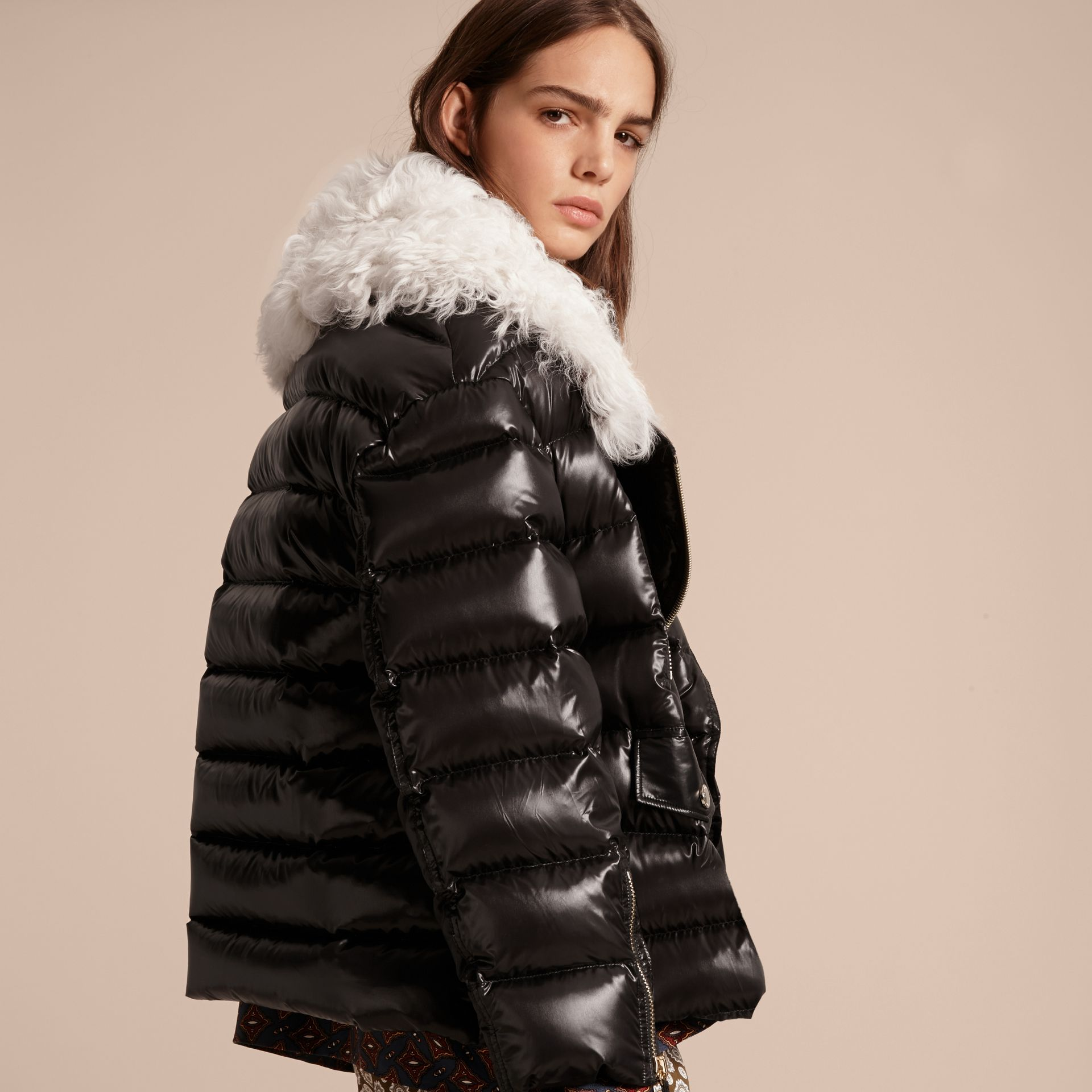 Black Detachable Fur Collar Oversize Down-filled Glossy Puffer - gallery image 3