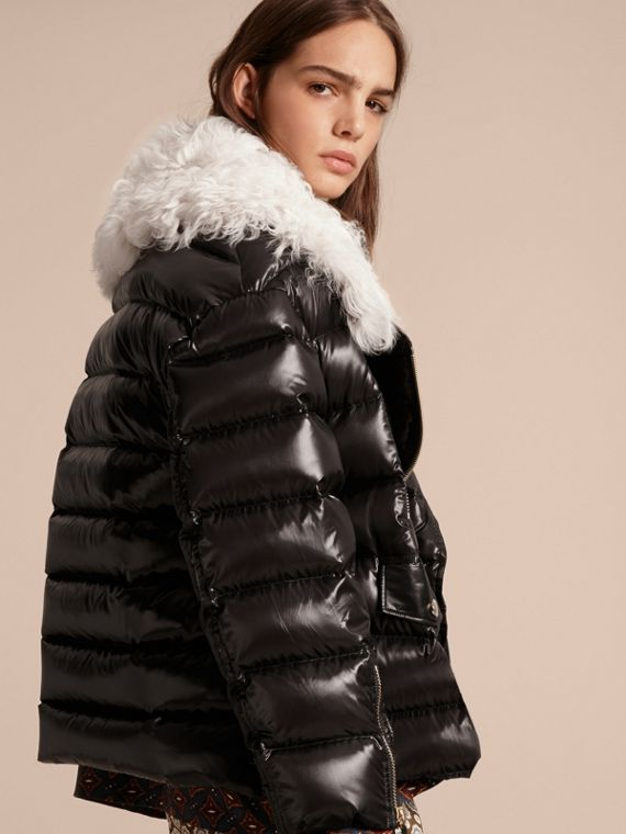 Black Detachable Fur Collar Oversize Down-filled Glossy Puffer - cell image 2