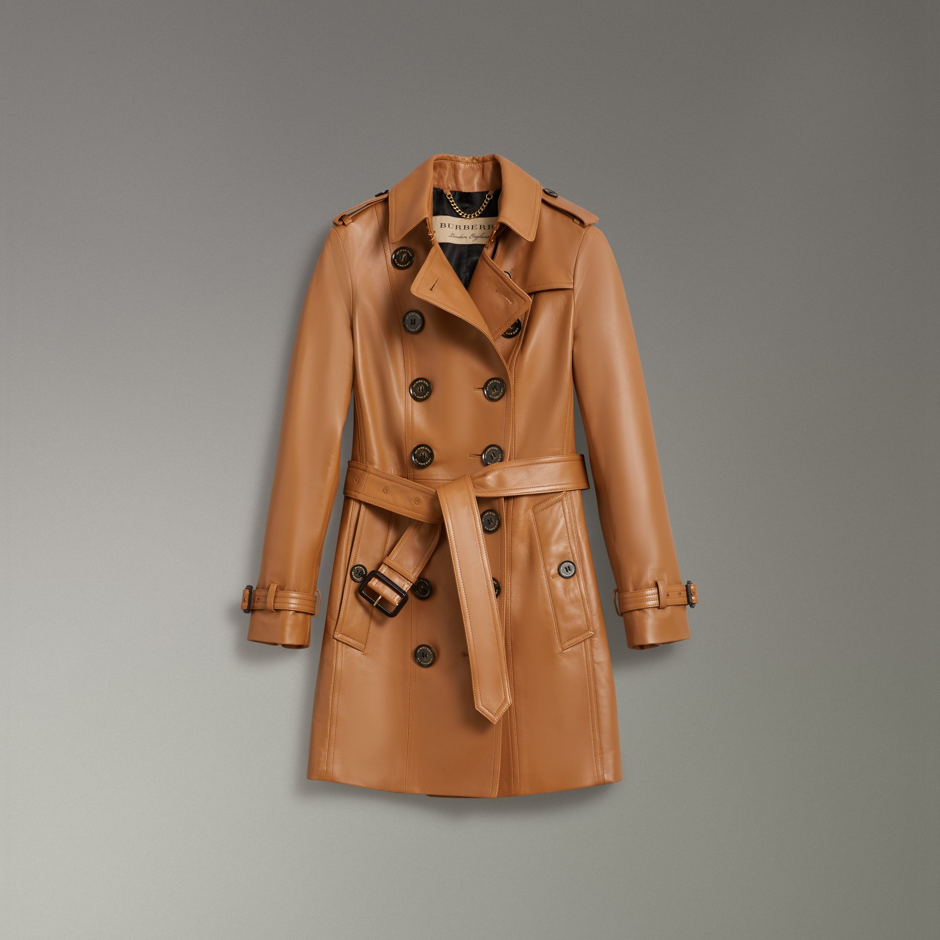 Sandringham Fit Lambskin Trench Coat in Caramel - Women | Burberry - gallery image 3