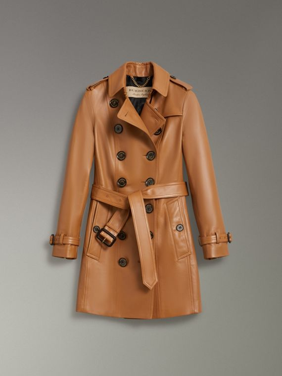 Sandringham Fit Lambskin Trench Coat in Caramel - Women | Burberry - cell image 3